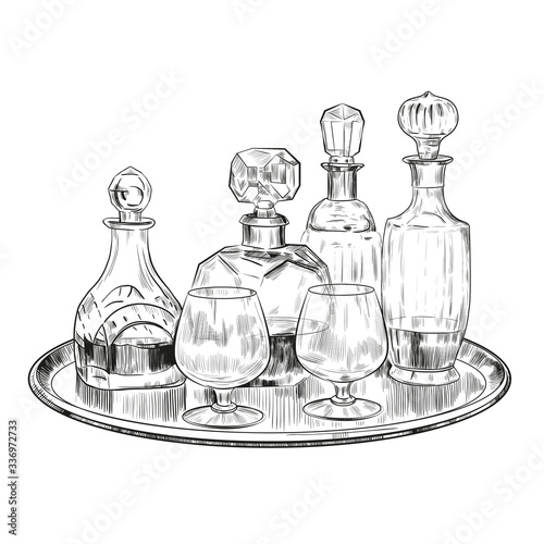 Vector sketch with glasses and alcoholic drinks in crystal glasses on a salver Wallpaper Mural