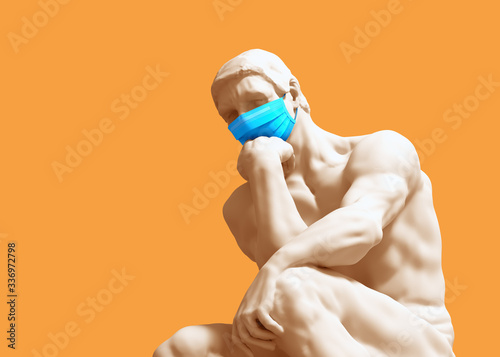 Obraz Thinker In Medical Mask. Concept Of Coronavirus Quarantine. - fototapety do salonu