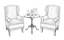 .Two Soft Chairs, Coffee Table, Two Wine Glasses  And  Decanters With Alcoholic Beverages.. Hand-drawn Vector Illustration In Vintage Style. Isolated Interior Elements. Sketch.