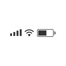 Mobile Phone Signal, Wi-fi, Battery Icon. Status Bar Symbol Modern, Simple, Vector, Icon For Website Design, Mobile App, Ui. Vector Illustration