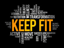 Keep Fit Word Cloud, Sport Concept Background