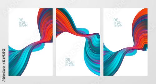 Canvastavla Set of colorful flow poster backgrounds. Modern design.