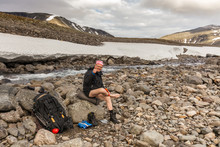 A Tourist Wipes Himself After He Crossed Cold Creek,autumn, Sarek