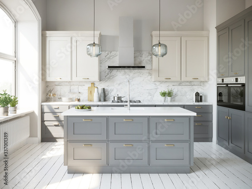 Fotografie, Tablou 3d rendering of a beige and grey scandinavian kitchen with island and glass lamp