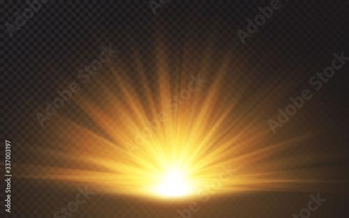 Fototapeta Sunlight special lens flash light effect on transparent background. Effect of blurring light. Vector Illustration obraz na płótnie