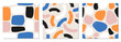 Set of trendy hand drawn organic shapes seamless repeating patterns