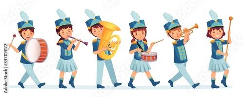 Fotografie, Obraz Cartoon kids marching band parade