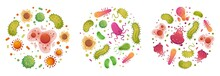 Bacteria And Germ In Circle. B...