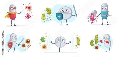Fototapeta Antibiotic fight bacteria and virus