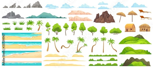 Fototapeta Beach landscape constructor. Sandy beaches, tropical palms, mountains and hills. Ocean horizon, clouds and green trees cartoon vector illustration set. Nature beach landscape constructor obraz