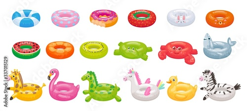 Obraz Cartoon swimming ring. Funny flamingo, shark, unicorn and duck floating rings. Summer swimming pool toys vector illustration set. Inflatable summer duck ring, swimming watermelon rubber - fototapety do salonu