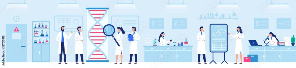 Fototapeta Genetic research laboratory. Professional lab with scientists, genome and biological researches vector illustration. Laboratory research and medicine biotechnology