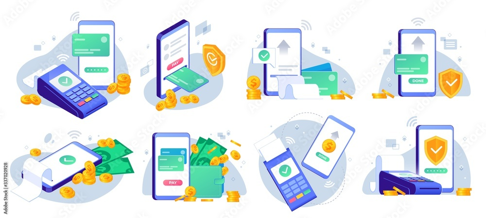 Fototapeta Mobile payments. Online sending money from mobile wallet to bank card, golden coins transfer app and e payment vector illustration set. Mobile payment, business finance pay, transaction online