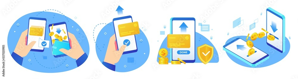 Fototapeta Money transfers. Online shopping, digital payments and hand handing phone with coins transfer app vector illustration set. Payment business, finance shopping label collection