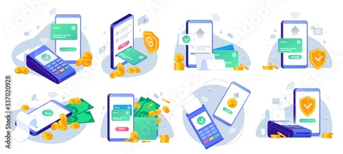 Obraz Mobile payments. Online sending money from mobile wallet to bank card, golden coins transfer app and e payment vector illustration set. Mobile payment, business finance pay, transaction online - fototapety do salonu