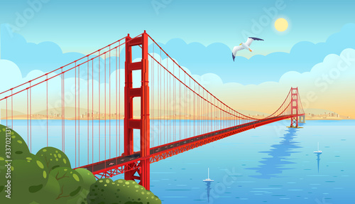 Golden Gate Bridge across the strait фототапет
