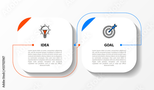 Infographic design template. Creative concept with 2 steps Tableau sur Toile