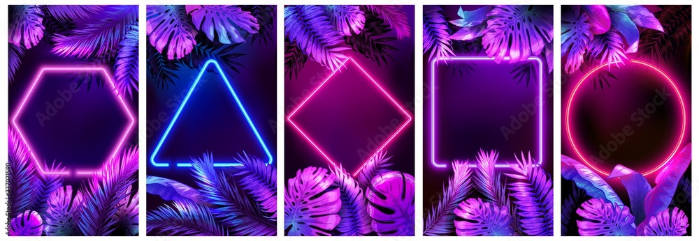 Fototapeta Tropical neon frames. Bright glowing leaves, cyber floral frame and leafs in neon lights vector background set. Neon frame tropical, palm leaf poster illustration