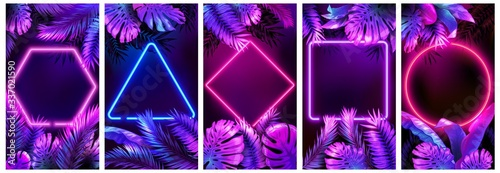 Obraz Tropical neon frames. Bright glowing leaves, cyber floral frame and leafs in neon lights vector background set. Neon frame tropical, palm leaf poster illustration - fototapety do salonu