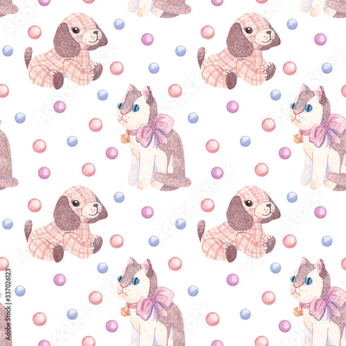 Hand-drawn seamless watercolor pattern on the theme of children's plush toys. Bright background with pink cat, puppy, and confetti  for textiles, wrapping paper, banners, design etc.