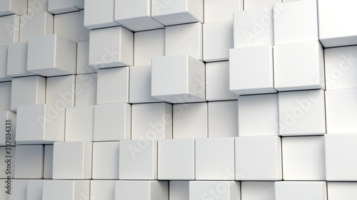 abstract white round cube multiple scale background, 3d render. - 337034331