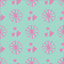 Pink Dandelion And Heart Vector Repeat With Hearts. Perfect For Wallpaper, Kids, Scrapbooking, Stationary And Homeware.