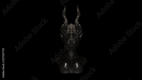 Fotografia Dusty Old Iron Horned Demon Queen Statue Bust 3d illustration 3d render