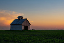 Midwest Barn At Sunset