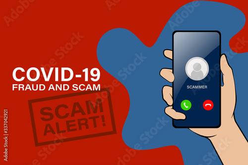Obraz Covid-19 fraud and scam alert - fototapety do salonu