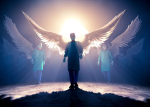 Doctors As Angels Protect From Pandemic Covid-19 Corona Virus,  NCoV Real Hero Of 2020 Crisis - 3D Rendering - Concept