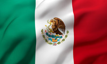 Flag Of Mexico Blowing In The ...