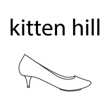Vector Flat Line Icon Of Woomen Designer Style Kitten Hill Shoes