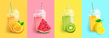 Orange, Watermelon, Kiwi, Lemon Smoothie Set. Juice To Go With Fresh Fruits.Summer Background For Banner,poster,brand,template And Label,packaging,packing,emblem And Advertise.Vector Illustration.