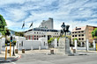 canvas print picture -  Statue of Louis Botha in front of the South African Parliament building on Roeland Street, Cape Town.