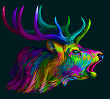 Deer. Abstract, Neon, Multi-colored Portrait Of A Roaring Deer On A Dark Green Background.