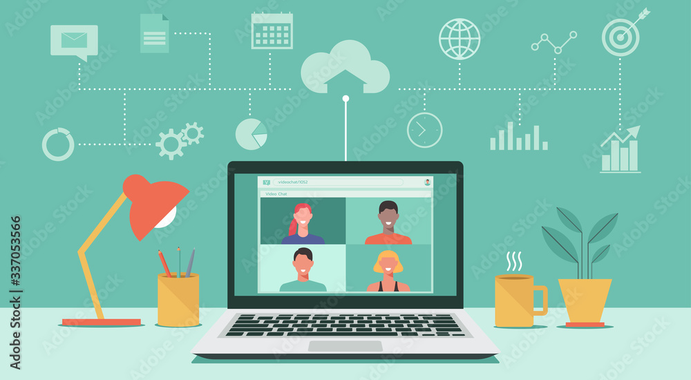 Fototapeta people connecting together, learning or meeting online with teleconference, video conference remote working, work from home, work from anywhere, new normal concept, vector flat illustration