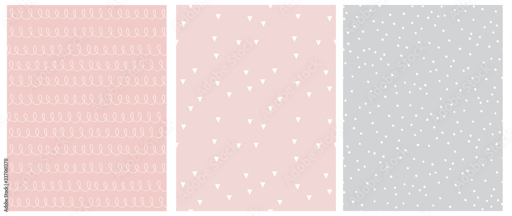 Fototapeta Abstract Hand Drawn Childish Style Seamless Vector Patterns. White Lines with Loops, Tiny Triangles and Little Polka Dots Isolated on a Various Pink and Light Gray Backgrounds.Simple Geometric Print.