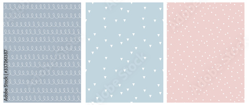 Abstract Hand Drawn Childish Style Seamless Vector Patterns. White Lines with Loops, Tiny Triangles and Little Polka Dots Isolated on a Blue, Pink and Gray Backgrounds.Simple Geometric Print.