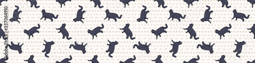 Obraz Cute cartoon British shorthair cat seamless border pattern. Pedigree kitty breed domestic kitty background. Cat lover English purebred washi ribbon. Feline EPS 10 trim.  - fototapety do salonu