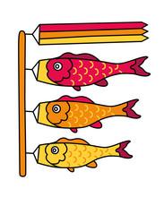 Koinobori. Traditional Japanese Fish Flags. Fish Kites. Koi Carps. Cartoon Vector Illustration.