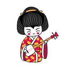 Geisha With Shamisen. Kawaii J...