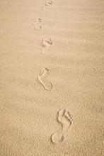 Bare Feet Footprints On Sand. ...