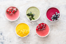 Fresh Natural Yogurt Ice Cream In Bowls