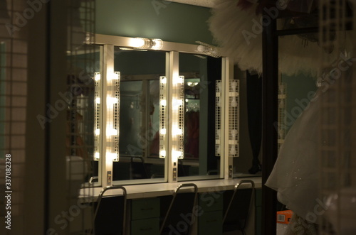 dressing room lights and mirrors Wallpaper Mural