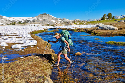Fotografie, Obraz woman hiker in the mountains