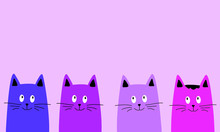 Cute Cartoon Cats Vector. Copyspace. Drawn Funny Cats Are Looking.
