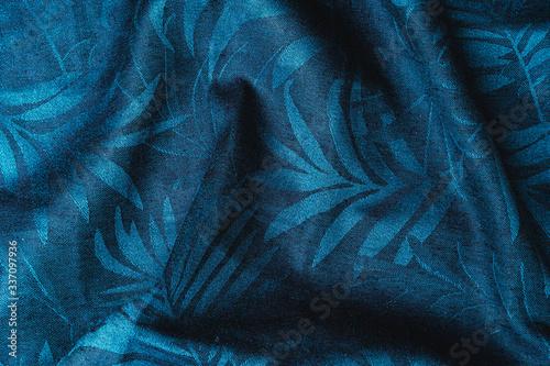 Blue checkered fabric closeup , tablecloth texture. Wallpaper Mural