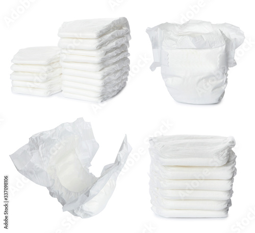 Set of baby diapers on white background Poster Mural XXL