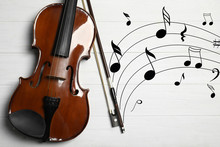 Classic Violin With Bow And Mu...