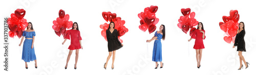 Collage of happy young woman with heart shaped balloons on white background Canvas Print